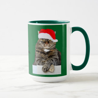 Christmas Cat Humbug Photo with Santa Hat Mug