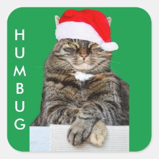Christmas Cat Humbug Photo with Santa Hat Square Sticker