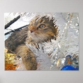 Christmas Cat impressionism Poster
