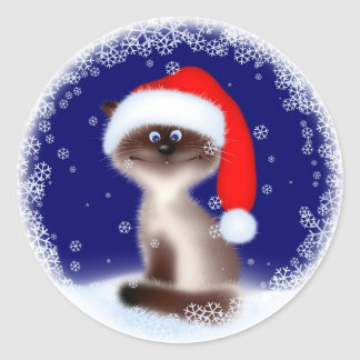 Christmas Cat in Santa Hat Classic Round Sticker