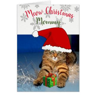 Christmas Cat Inside Greeting Card /Meow Christmas