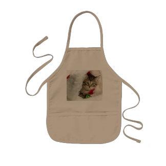 Christmas cat -kitten cat - cute cats kids apron