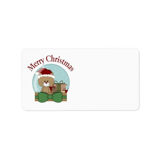 Christmas Cat Kitten Holiday Christmas Snowglobes Address Label
