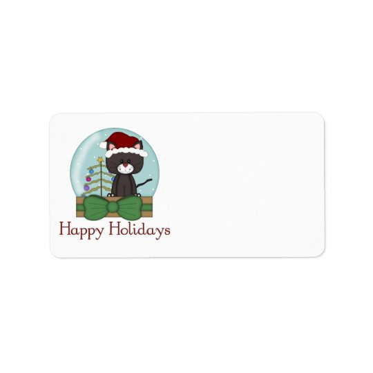 Christmas Cat Kitten Holiday Christmas Snowglobes Address Label