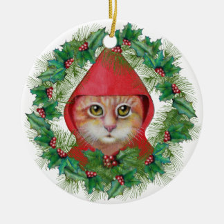 Christmas Cat Little Red Riding Hood Ornament