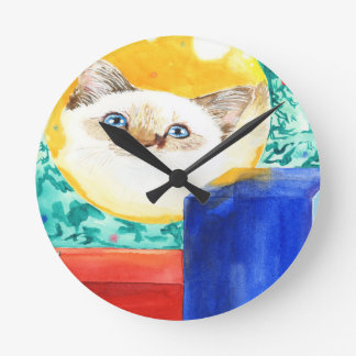 Christmas Cat Round Clock