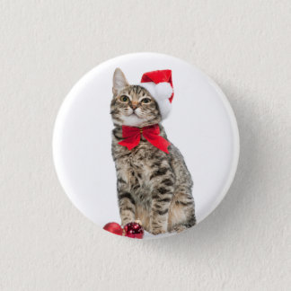 Christmas cat - santa claus cat - cute kitten 3 cm round badge