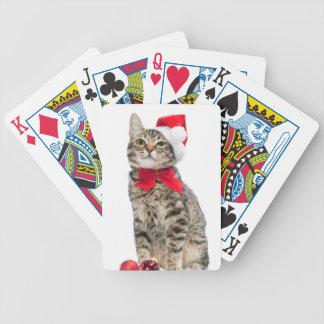 Christmas cat - santa claus cat - cute kitten bicycle playing cards