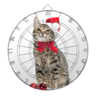 Christmas cat - santa claus cat - cute kitten dartboard