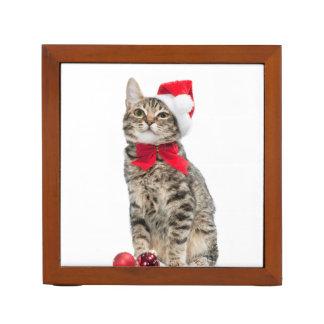 Christmas cat - santa claus cat - cute kitten desk organiser