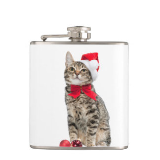 Christmas cat - santa claus cat - cute kitten hip flask