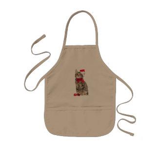 Christmas cat - santa claus cat - cute kitten kids apron