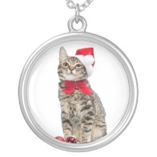 Christmas cat - santa claus cat - cute kitten silver plated necklace