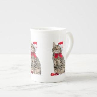 Christmas cat - santa claus cat - cute kitten tea cup