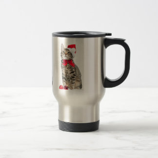 Christmas cat - santa claus cat - cute kitten travel mug
