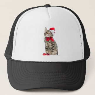 Christmas cat - santa claus cat - cute kitten trucker hat