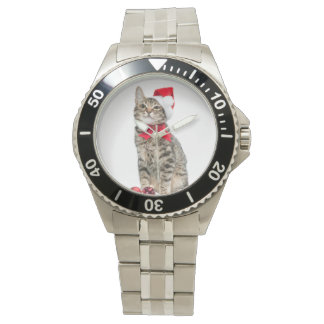 Christmas cat - santa claus cat - cute kitten watch