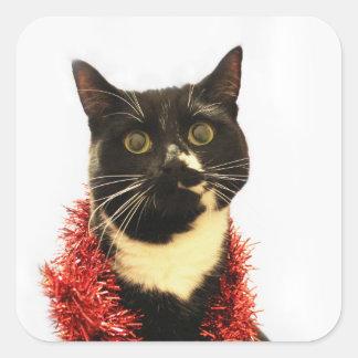 Christmas Cat Square Sticker