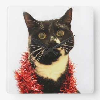 Christmas Cat Square Wall Clock