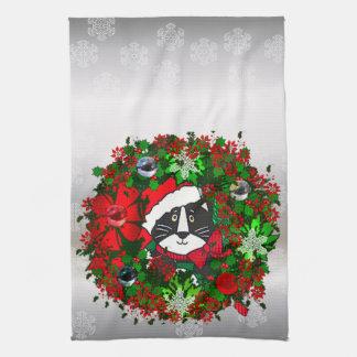Christmas Cat Tea Towel