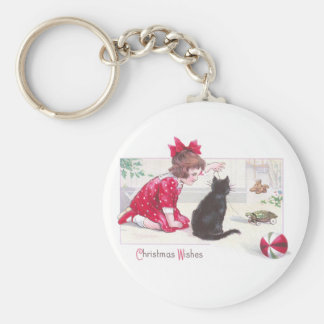 Christmas Cat Watches Turtle Pull Toy Vintage Basic Round Button Key Ring