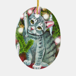 Christmas Cat with Fish Best Christmas Fishes Ceramic Ornament