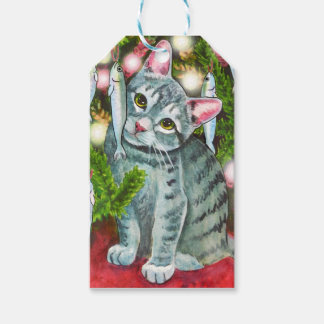 Christmas Cat with Fish Best Christmas Fishes Gift Tags