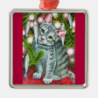 Christmas Cat with Fish Best Christmas Fishes Metal Ornament