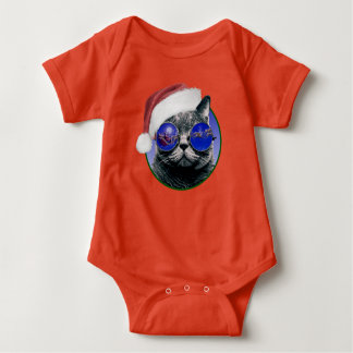 Christmas Cat with Glasses Baby Bodysuit