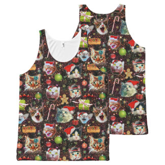 Christmas Cats in Space Galaxy Stars Funny Holiday All-Over Print Singlet
