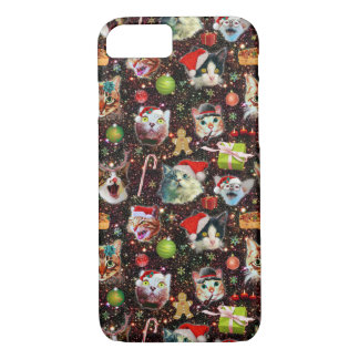 Christmas Cats in Space Galaxy Stars Funny Holiday iPhone 8/7 Case