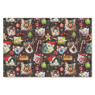 Christmas Cats in Space Galaxy Stars Funny Holiday Tissue Paper