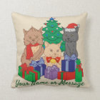 Christmas Cats Tree Presents Personalised Cushion