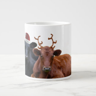 Christmas Cattle - Santa Hat and Antlers Large Coffee Mug