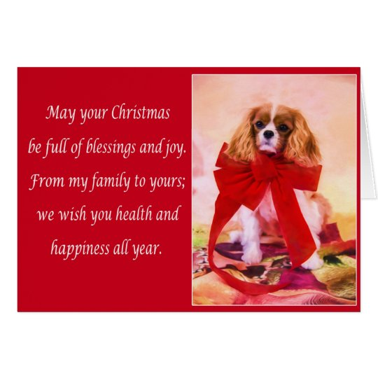 Christmas Cavalier King Charles With Red Bow Card