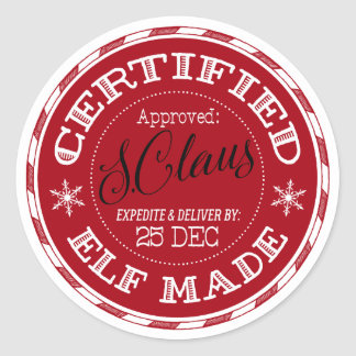 Christmas | Certified Elf Made Classic Round Sticker