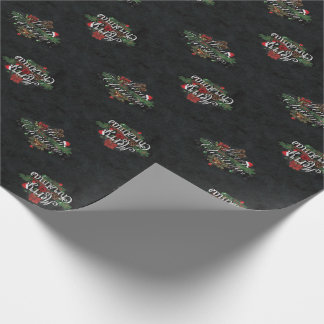 Christmas Chalk And Roses Wrapping Paper