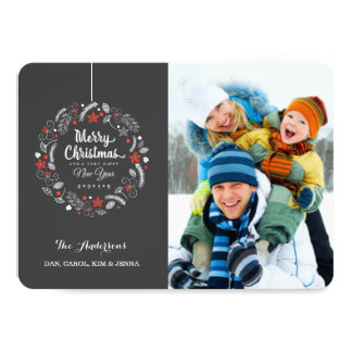CHRISTMAS CHALKBOARD FLORAL WREATH PHOTO CARD