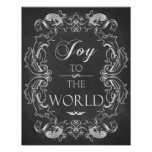Christmas chalkboard Joy To The World Quote Art Posters