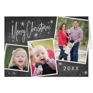 Christmas Chalkboard Photo Collage Merry Christmas Card