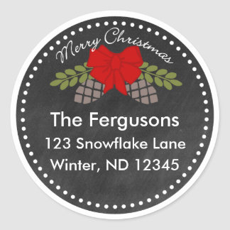 Christmas Chalkboard Pine Cones Address Label Round Sticker