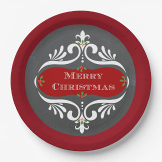Christmas Chalkboard Red Paper Plates