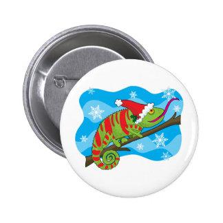 Christmas Chameleon 6 Cm Round Badge