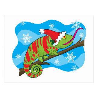 Christmas Chameleon Postcard