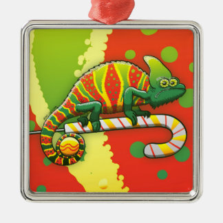 Christmas Chameleon Walking on a Candy Cane Metal Ornament