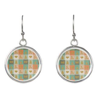 Christmas Checks Pattern Earrings