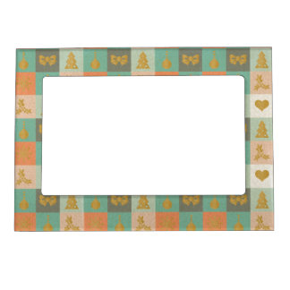 Christmas Checks Pattern Magnetic Picture Frame