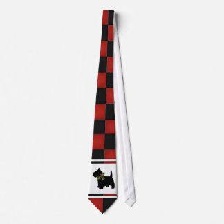 Christmas Checks with Scottie Dog Pattern Tie