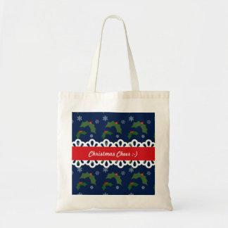 Christmas Cheer Holly Berries Pattern Budget Tote Bag