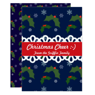Christmas Cheer Holly Berries Pattern Family Card 13 Cm X 18 Cm Invitation Card
